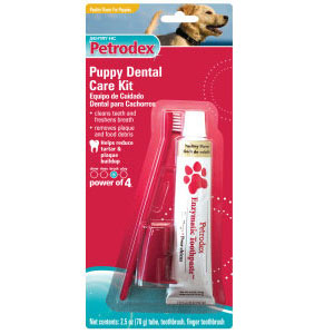 Petrodex Puppy Dental Care Kit, Poultry Toothpaste With 2 Toothbrushes | VetDepot.com