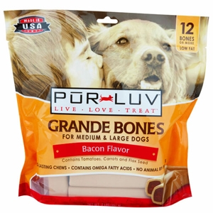 Pur Luv Grande Bones Bacon Flavor for Medium & Large Dogs, 12 Bones | VetDepot.com