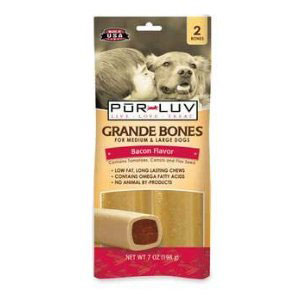 Pur Luv Grande Bones Bacon Flavor for Medium & Large Dogs, 2 Bones | VetDepot.com