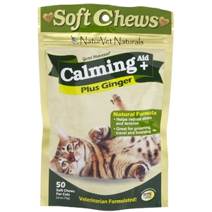 Quiet Moments Calming Aid Plus Ginger for Cats, 50 Soft Chews