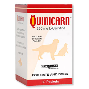 Quinicarn for Cats and Dogs 250 mg, 30 Packets (L-Carnitine)