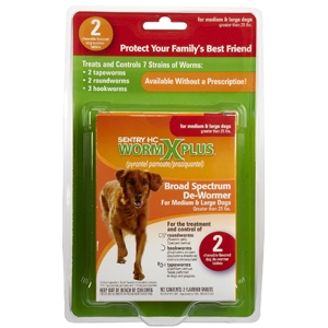 Sentry HC WormX Plus Large Dog, 2 Chewable Tablets | VetDepot.com