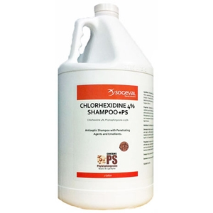 Sogeval Chlorhexidine 4% Shampoo for Dogs, Cats, and Horses, 1 gal