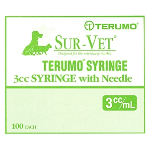 "Terumo Sur-Vet Syringe 3 cc, 22 gauge x 1"" w/Regular Luer, Regular Wall - 100 Pack"