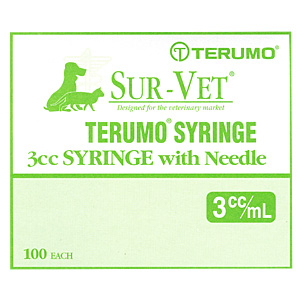 "Terumo Sur-Vet Syringe 3 cc, 25 gauge x 5/8"" w/Regular Luer, Regular Wall - 100 Pack"