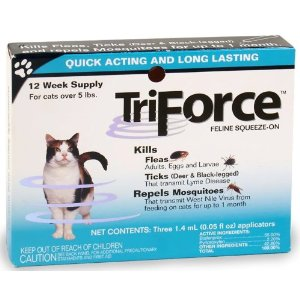 TriForce Feline Squeeze-On for Cats Over 5 lbs, 3 Pack
