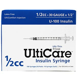 "UltiCare Insulin Syringe U-100 1/2 cc, 30 gauge x 1/2"" - 100 Pack"