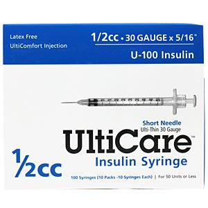 "UltiCare Insulin Syringe U-100 1/2 cc, 30 gauge x 5/16"" - 100 Pack"