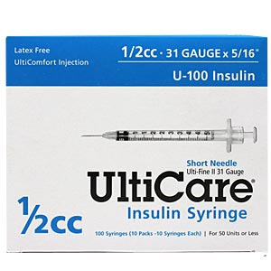 "UltiCare Insulin Syringe U-100 1/2 cc, 31 gauge x 5/16"" - 100 Pack"