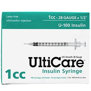 "UltiCare Insulin Syringe U-100 1 cc, 28 gauge x 1/2"" - 100 Pack"