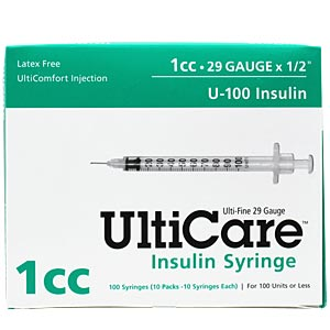 "UltiCare Insulin Syringe U-100 1 cc, 29 gauge x 1/2"" - 100 Pack"