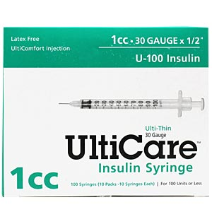 "UltiCare Insulin Syringe U-100 1 cc, 30 gauge x 1/2"" - 100 Pack"