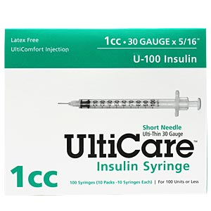 "UltiCare Insulin Syringe U-100 1 cc, 30 gauge x 5/16"" - 100 Pack"