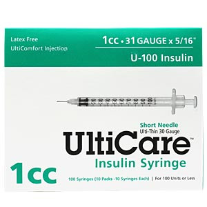 "UltiCare Insulin Syringe U-100 1 cc, 31 gauge x  5/16"" - 100 Pack"