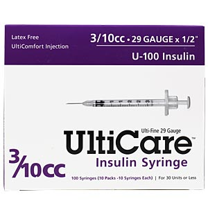 "UltiCare Insulin Syringe U-100 3/10 cc 29 gauge x 1/2"" - 100 Pack"