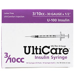 "UltiCare Insulin Syringe U-100 3/10 cc, 30 gauge x 1/2"" - 100 Pack"