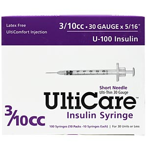 "UltiCare Insulin Syringe U-100 3/10 cc, 30 gauge x 5/16"" - 100 Pack"