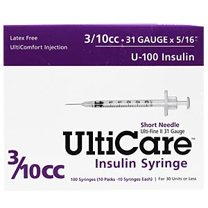 "UltiCare Insulin Syringe U-100 3/10 cc, 31 gauge x 5/16"" - 100 Pack"