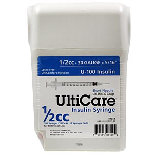 "UltiCare UltiGuard All-In-One Dispense & Dispose Container with 100 1/2cc, 30 gauge x 5/16"" Insulin Syringes"