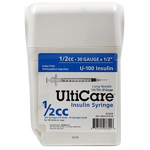 "UltiCare UltiGuard All-In-One Dispense & Dispose Container with 100 UltiCare 1/2 cc, 30 gauge x 1/2"" Insulin Syringes"
