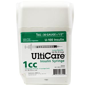 "UltiCare UltiGuard All-In-One Dispense & Dispose Container with 100 UltiCare 1 cc, 30 gauge x 1/2"" Insulin Syringes"