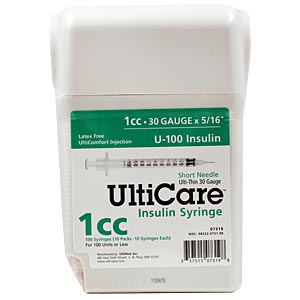 "UltiCare UltiGuard All-In-One Dispense & Dispose Container with 100 UltiCare 1 cc, 30 gauge x 5/16"" Insulin Syringes"