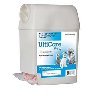 "UltiCare UltiGuard Dispenser with 100 VetRx 1/2 cc, 29 gauge x 1/2"" Insulin Syringes"