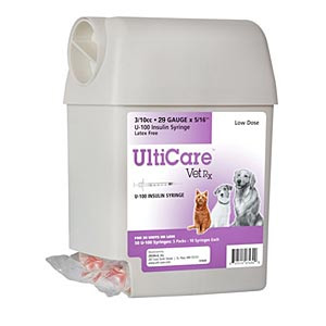 "UltiCare UltiGuard Dispenser with 100 VetRx 3/10 cc, 29 gauge x 1/2"" Insulin Syringes"