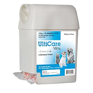 "UltiCare UltiGuard Dispenser with 50 VetRx 1/2 cc, 31 gauge x 5/16"" Insulin Syringes"