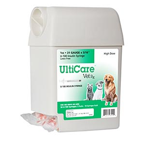 "UltiCare UltiGuard Dispenser with 50 VetRx 1 cc, 31 gauge x 5/16"" Insulin Syringes"