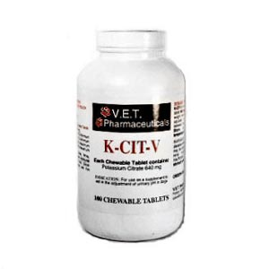 K-CIT-V Potassium Citrate for Dogs, 100 Chewable Tablets