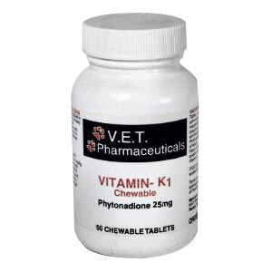 V.E.T. Pharmaceuticals Vitamin K1 25 mg, 50 Chewable Tablets
