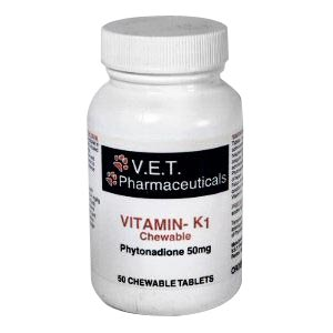 V.E.T. Pharmaceuticals Vitamin K1 50 mg, 50 Chewable Tablets