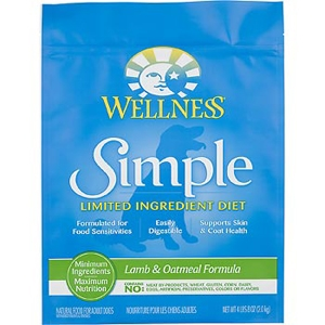 Wellness Simple Food Solutions Lamb & Oatmeal Dog Food, 4.5 lb - 6 Pack
