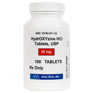Hydroxyzine HCL 25 mg, 100 Tablets | VetDepot com
