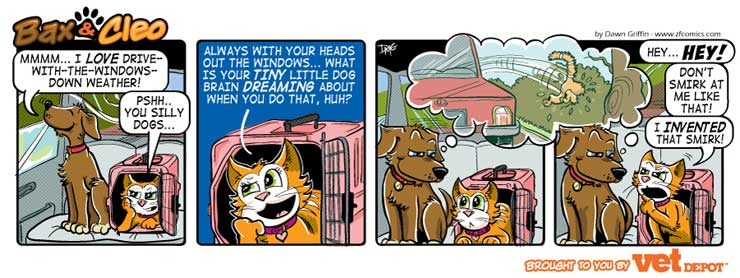 bax & cleo comic strip car ride