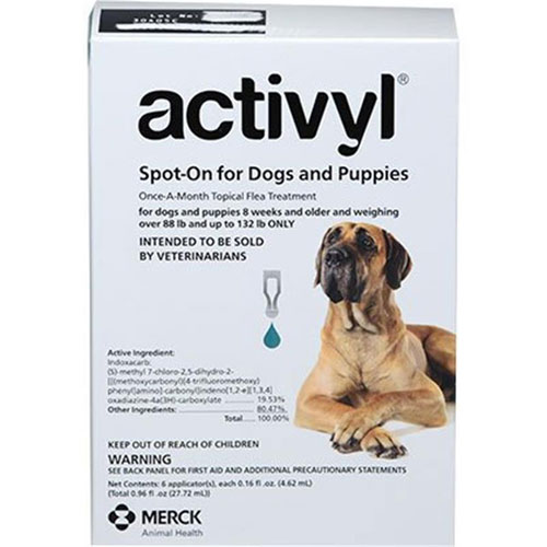 Activyl Spot-On for Dogs and Puppies, Over 88 lbs - 132 lbs 6 Month Supply