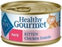 Blue Buffalo Healthy Gourmet Wet Cat Food Kitten Recipe, Chicken Pat?, 3 oz, 24 Pack