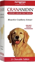 Crananidin for Dogs, 21 Chewable Tablets crananidin, crananidin for dogs,dog cranberry supplements, cranberry supplements for dogs, uti in dogs, urinary tract infections in dogs,dog cysititis, cranberries for dogs, urinary health in dogs, pet meds, pet medications