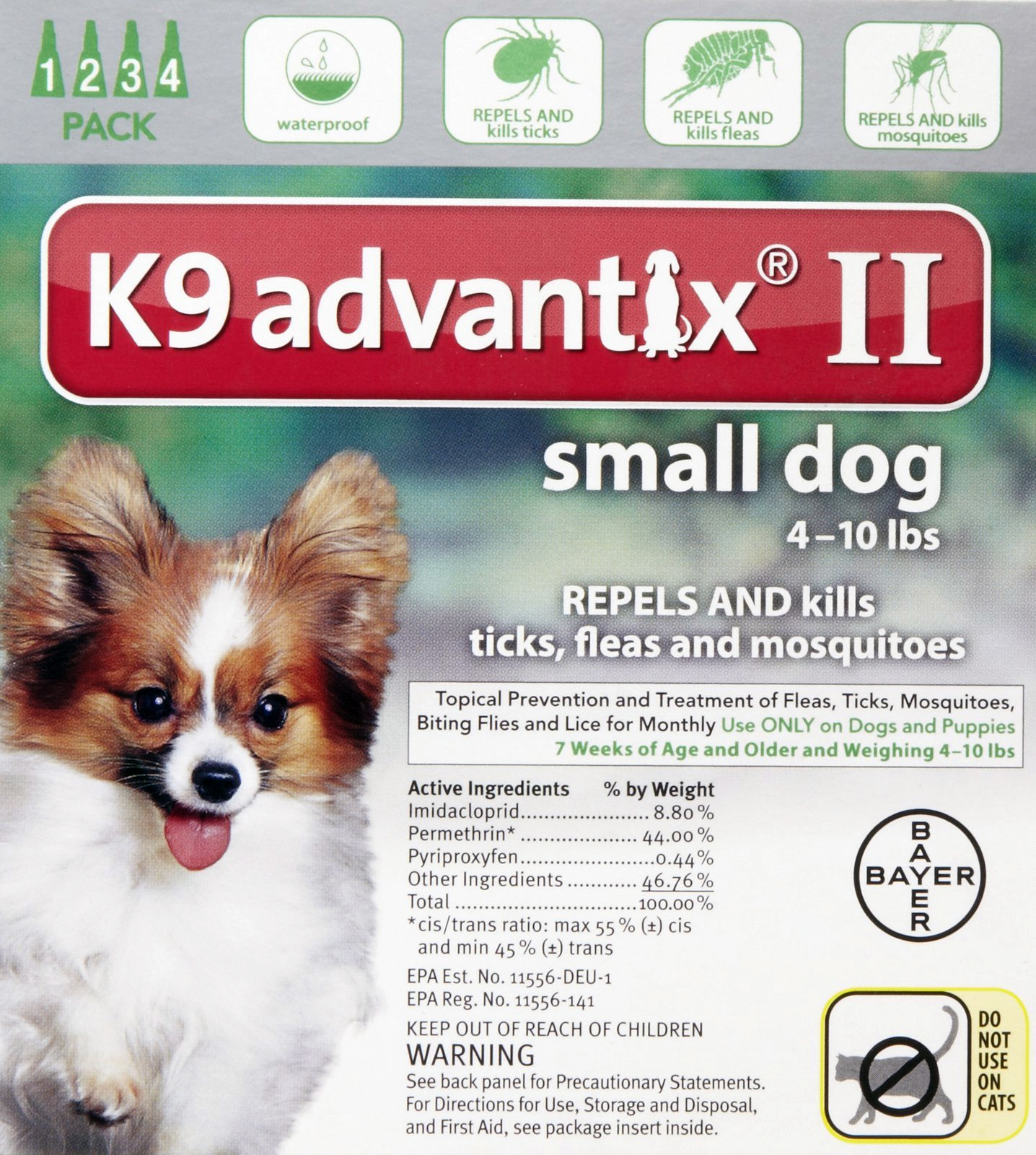 K9 Advantix II for Dogs up to 10 lbs, 4 Pack (Green) - 1010538