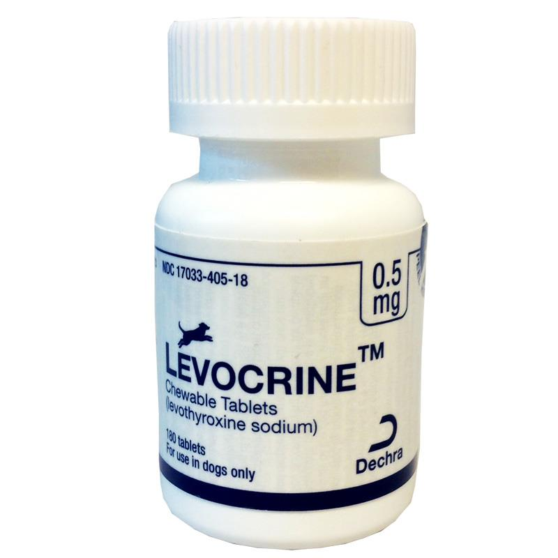 Levocrine Chewable Tablets, 0.5 mg, 180 ct.Levocrine Chewable Tablets, 0.4 mg, 180 ct.