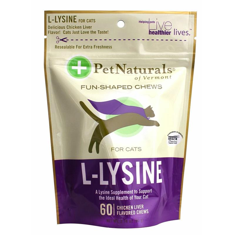 Pet Naturals L-Lysine Soft Chews for Cats, 3.74 oz, 60 ct.