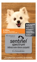 Sentinel Spectrum for Dogs 2-8 lbs, 6 Month (Orange)