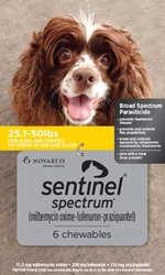 Sentinel Spectrum for Dogs 26-50 lbs, 6 Month (Yellow)