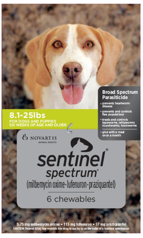 Sentinel Spectrum for Dogs 8-25 lbs, 6 Month (Green)