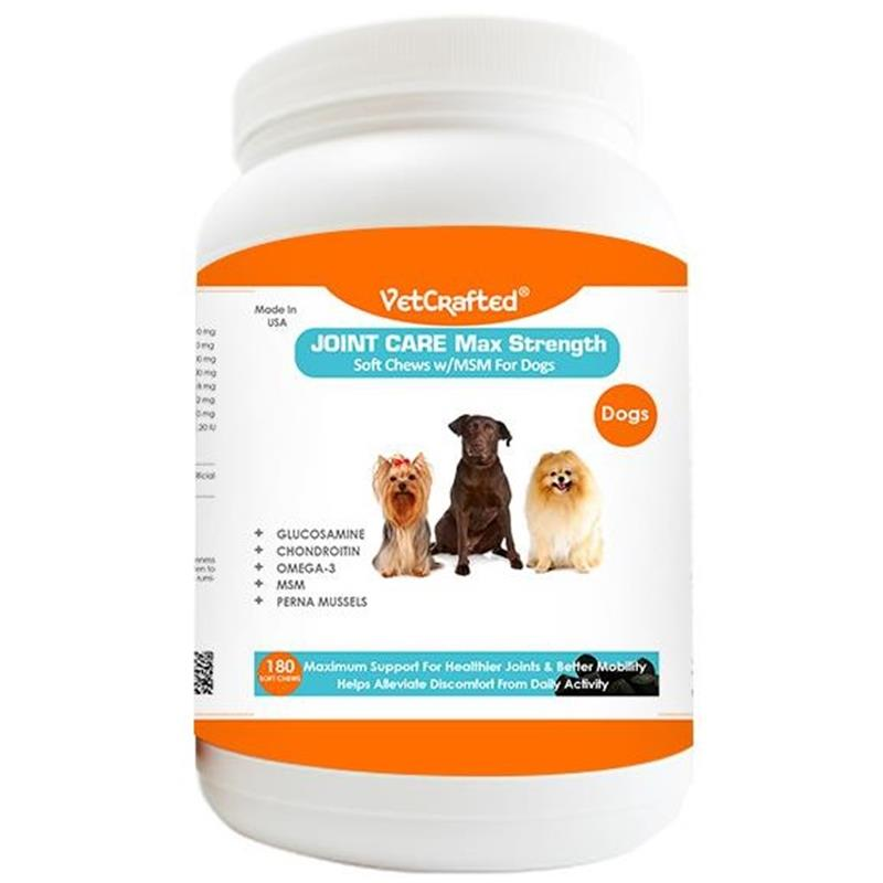 Vetcrafted Joint Care Max Strength Soft Chews with MSM for Dogs, 180 ct.