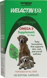 Welactin 3 Canine, 120 Softgel Capsules Welactin, Welactin for dogs, Welactin for cats, discount Welactin, cheap Welactin, nutritional supplement, natural salmon oil supplement for dogs