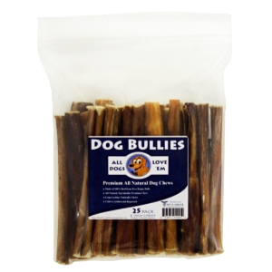 "6"" Dog Bully Sticks, Pizzle Chews, 25 ct"