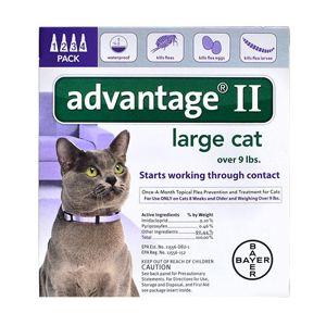 Advantage II for Cats 9-18 lbs, Purple, 4 Pack