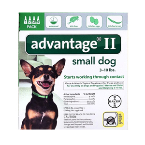 Advantage II for Dogs 1-10 lbs, 4 Pack (Green)
